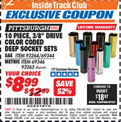 "Harbor Freight ITC Coupon 10 PIECE 3/8"" DRIVE COLOR CODED DEEP WALL SOCKET SETS Lot No. 69344/93264/69346/93265 Expired: 1/31/19 - $8.99"
