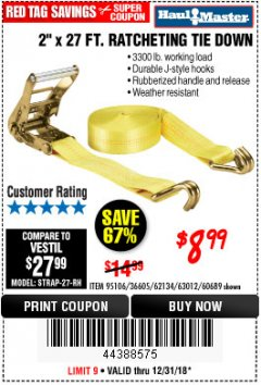 "Harbor Freight Coupon 2"" x 27 FT. RATCHETING TIE DOWN Lot No. 60689/62134/95106 Expired: 12/31/18 - $8.99"