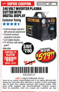 Harbor Freight Coupon 240 VOLT INVERTER PLASMA CUTTER WITH DIGITAL DISPLAY Lot No. 60767/62204/95136 Valid Thru: 7/31/18 - $579.99