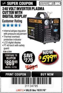Harbor Freight Coupon 240 VOLT INVERTER PLASMA CUTTER WITH DIGITAL DISPLAY Lot No. 60767/62204/95136 Valid Thru: 10/31/18 - $599.99