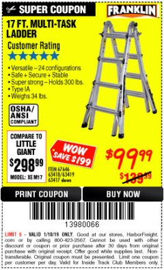 Harbor Freight ITC Coupon 17 FT. TYPE 1A MULTI-TASK LADDER Lot No. 67646/62656/62514/63418/63419/63417 Expired: 1/10/19 - $99.99