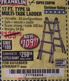 Harbor Freight Coupon 17 FT. TYPE 1A MULTI-TASK LADDER Lot No. 67646/62656/62514/63418/63419/63417 Expired: 2/5/19 - $109.99