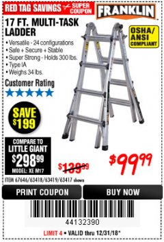 Harbor Freight Coupon 17 FT. TYPE 1A MULTI-TASK LADDER Lot No. 67646/62656/62514/63418/63419/63417 Expired: 12/31/18 - $99.99
