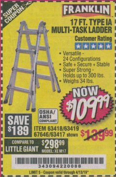 Harbor Freight Coupon 17 FT. TYPE 1A MULTI-TASK LADDER Lot No. 67646/62656/62514/63418/63419/63417 Expired: 4/13/19 - $109.99