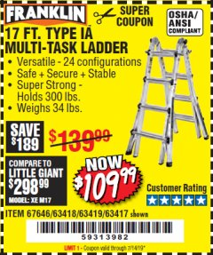 Harbor Freight Coupon 17 FT. TYPE 1A MULTI-TASK LADDER Lot No. 67646/62656/62514/63418/63419/63417 Expired: 7/14/19 - $109.99