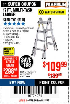 Harbor Freight Coupon 17 FT. TYPE 1A MULTI-TASK LADDER Lot No. 67646/62656/62514/63418/63419/63417 Expired: 8/11/19 - $109.99
