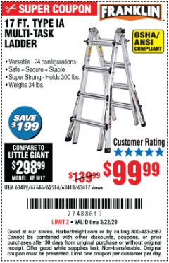 Harbor Freight Coupon 17 FT. TYPE 1A MULTI-TASK LADDER Lot No. 67646/62656/62514/63418/63419/63417 Expired: 3/22/20 - $99.99