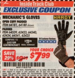 Harbor Freight ITC Coupon HARDY PADDED MECHANIC'S GLOVES Lot No. 64539/62424/64540/62425/64541/62423 Expired: 7/31/19 - $7.99