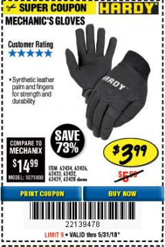 Harbor Freight Coupon MECHANIC'S GLOVES Lot No. 61235/62434/62426/93640/62433/62428/60447/93641/62432/60448/62429 Expired: 5/31/18 - $3.99