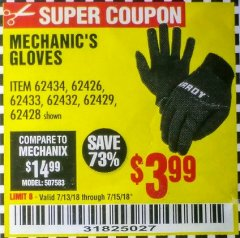 Harbor Freight Coupon MECHANIC'S GLOVES Lot No. 61235/62434/62426/93640/62433/62428/60447/93641/62432/60448/62429 Expired: 7/15/18 - $3.99