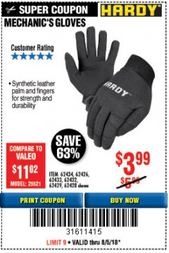 Harbor Freight Coupon MECHANIC'S GLOVES Lot No. 61235/62434/62426/93640/62433/62428/60447/93641/62432/60448/62429 Expired: 8/5/18 - $3.99