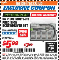 Harbor Freight ITC Coupon 34 PIECE MULTI-BIT PRECISION SCREWDRIVER SET Lot No. 93916 Expired: 5/31/18 - $5.99