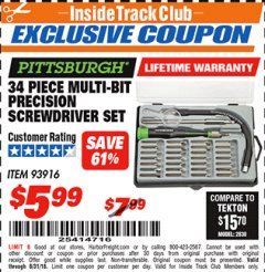 Harbor Freight ITC Coupon 34 PIECE MULTI-BIT PRECISION SCREWDRIVER SET Lot No. 93916 Expired: 8/31/18 - $5.99