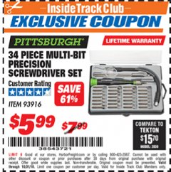Harbor Freight ITC Coupon 34 PIECE MULTI-BIT PRECISION SCREWDRIVER SET Lot No. 93916 Expired: 10/31/18 - $5.99