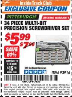 Harbor Freight ITC Coupon 34 PIECE MULTI-BIT PRECISION SCREWDRIVER SET Lot No. 93916 Expired: 1/31/19 - $5.99