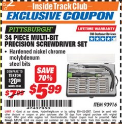 Harbor Freight ITC Coupon 34 PIECE MULTI-BIT PRECISION SCREWDRIVER SET Lot No. 93916 Expired: 5/31/19 - $5.99