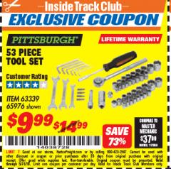 Harbor Freight ITC Coupon 53 PIECE TOOL KIT Lot No. 63339/65976 Expired: 5/31/18 - $9.99