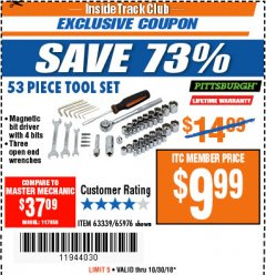 Harbor Freight ITC Coupon 53 PIECE TOOL KIT Lot No. 63339/65976 Dates Valid: 10/23/18 - 10/30/18 - $9.99