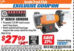 "Harbor Freight ITC Coupon 5"" BENCH GRINDER Lot No. 94186 Expired: 5/31/18 - $27.99"