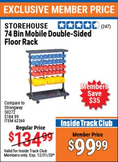 Harbor Freight ITC Coupon 74 BIN MOBILE DOUBLE-SIDED FLOOR RACK Lot No. 62269/95551 Expired: 12/31/20 - $99.99