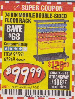 Harbor Freight Coupon 74 BIN MOBILE DOUBLE-SIDED FLOOR RACK Lot No. 62269/95551 Expired: 7/5/20 - $99.99