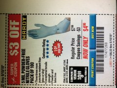 Harbor Freight Coupon POWDER-FREE NITRILE GLOVES PACK OF 100 Lot No. 68496/61363/97581/68497/61360/68498/61359 Expired: 6/10/18 - $4.99