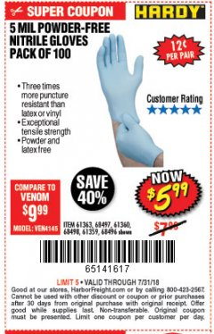 Harbor Freight Coupon POWDER-FREE NITRILE GLOVES PACK OF 100 Lot No. 68496/61363/97581/68497/61360/68498/61359 Expired: 7/31/18 - $5.99