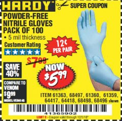 Harbor Freight Coupon POWDER-FREE NITRILE GLOVES PACK OF 100 Lot No. 68496/61363/97581/68497/61360/68498/61359 Expired: 12/1/18 - $5.99