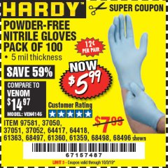 Harbor Freight Coupon POWDER-FREE NITRILE GLOVES PACK OF 100 Lot No. 68496/61363/97581/68497/61360/68498/61359 Expired: 10/3/19 - $5.99