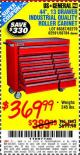 "Harbor Freight Coupon 44"", 13 DRAWER INDUSTRIAL QUALITY ROLLER CABINET Lot No. 62270/62744/68784/69387/63271 Expired: 10/7/15 - $369.99"