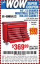 "Harbor Freight Coupon 44"", 13 DRAWER INDUSTRIAL QUALITY ROLLER CABINET Lot No. 62270/62744/68784/69387/63271 Expired: 10/12/15 - $369.99"