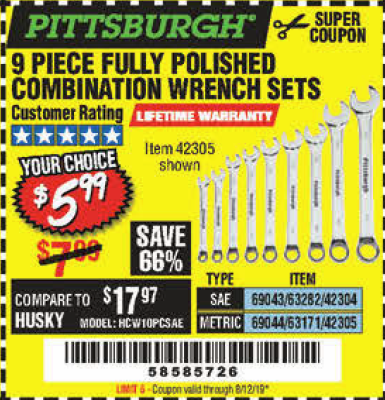 Harbor Freight 9 PIECE FULLY POLISHED COMBINATION WRENCH SETS coupon