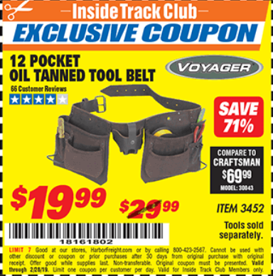 Harbor Freight 12 POCKET OIL TANNED LEATHER TOOL BELT coupon