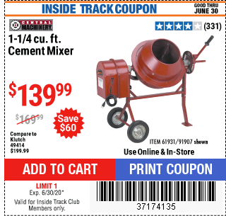 Harbor Freight 1-1/4 CUBIC FT. CEMENT MIXER coupon