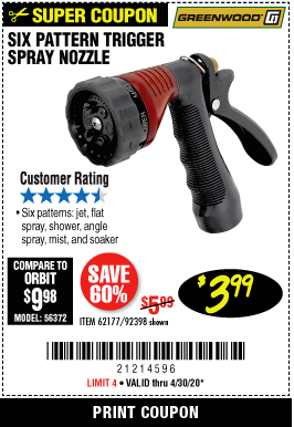 Harbor Freight TRIGGER SPRAY NOZZLE coupon