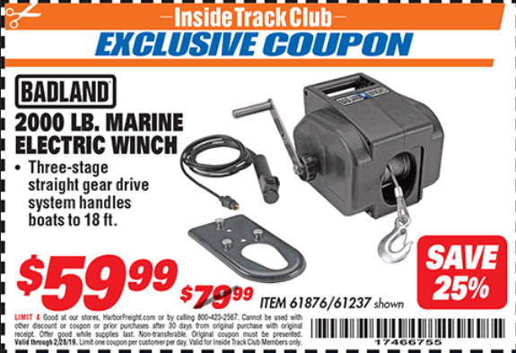 Harbor Freight 2000 LB. MARINE ELECTRIC WINCH coupon