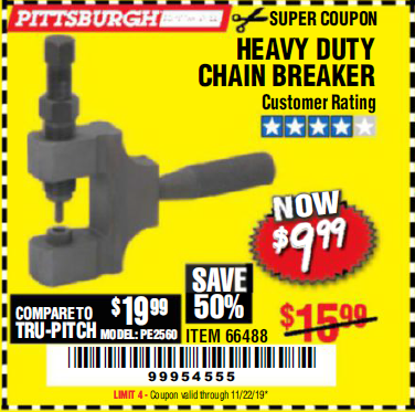 Harbor Freight HEAVY DUTY CHAIN BREAKER coupon