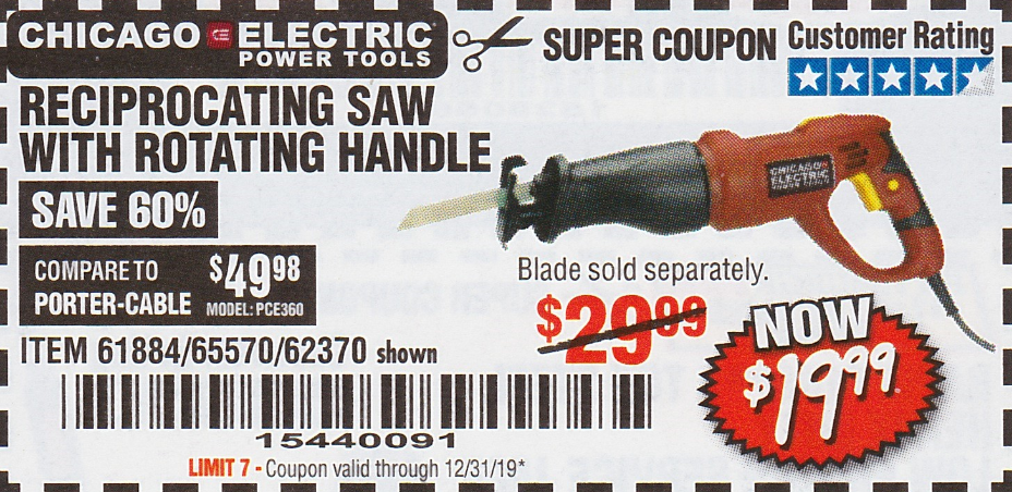 Harbor Freight RECIPROCATING SAW WITH ROTATING HANDLE coupon