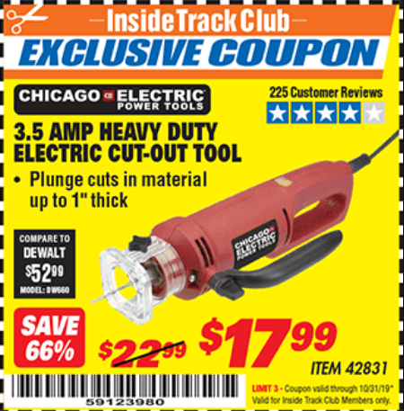 Harbor Freight 3.5 AMP HEAVY DUTY ELECTRIC CUTOUT TOOL coupon