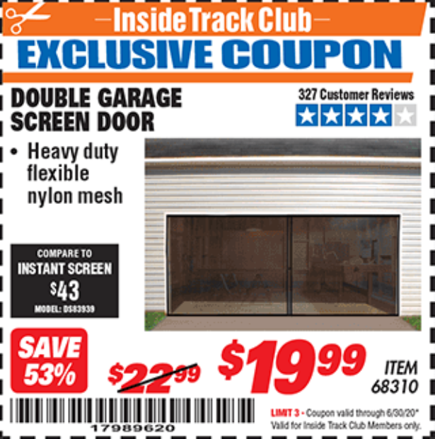 Harbor Freight DOUBLE GARAGE DOOR SCREEN coupon
