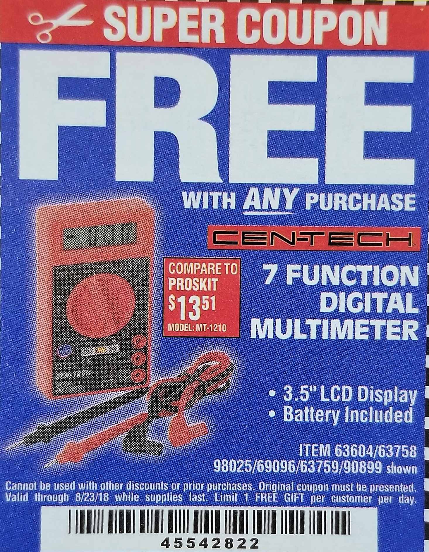Harbor Freight Tools Coupon Database Free Coupons 25 Percent Off Cen Tech 7 Function Digital Multimeter For Electronic Circuit Battery Lot No 90899 98025 69096 63604 63758 63759 Expired 8 23 18 Fwp