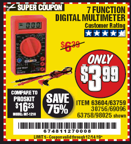 Harbor Freight 7 FUNCTION DIGITAL MULTIMETER coupon