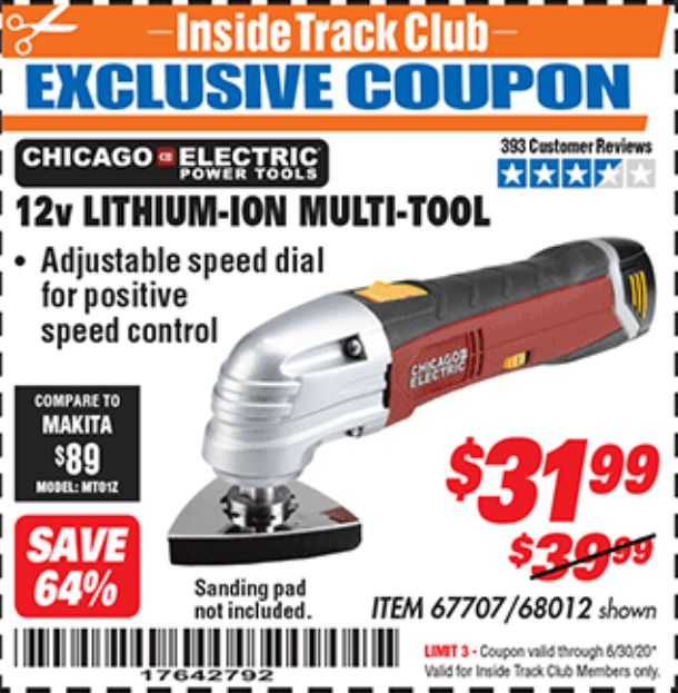Harbor Freight 12 VOLT LITHIUM-ION VARIABLE SPEED MULTIFUNCTION POWER TOOL coupon