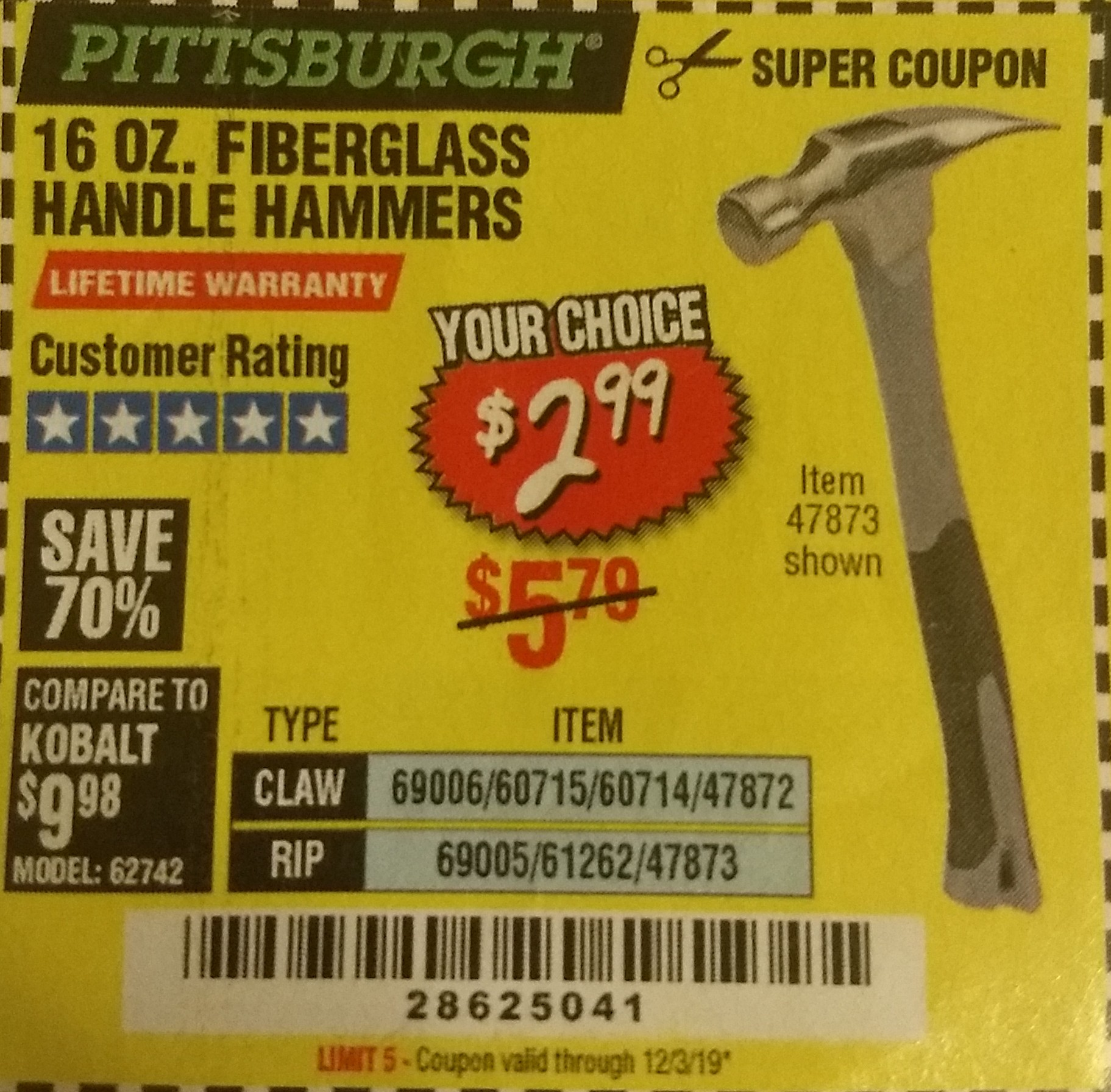 Harbor Freight 16 OZ. HAMMERS WITH FIBERGLASS HANDLE coupon