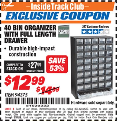 Harbor Freight 40 BIN ORGANIZER WITH FULL LENGTH DRAWER coupon