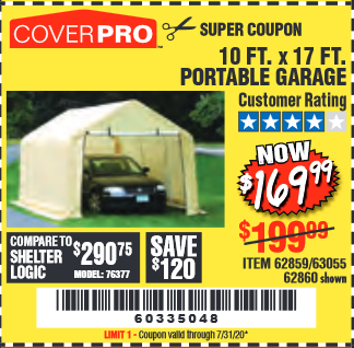 Harbor Freight COVERPRO 10 FT. X 17 FT. PORTABLE GARAGE coupon