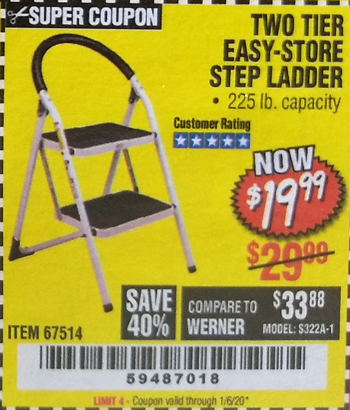 www.hfqpdb.com - TWO TIER EASY-STORE STEP LADDER Lot No. 67514