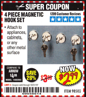 Harbor Freight 4 PIECE MAGNETIC HOOK SET coupon