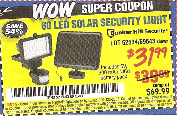 Harbor freight tools coupon database free coupons 25 percent off 60 led solar security light lot no 6253469643 expired 2216 3199 aloadofball Choice Image