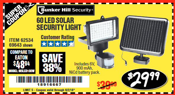 Harbor freight tools coupon database free coupons 25 percent off 60 led solar security light lot no 6253469643 expired 6218 2999 aloadofball Choice Image